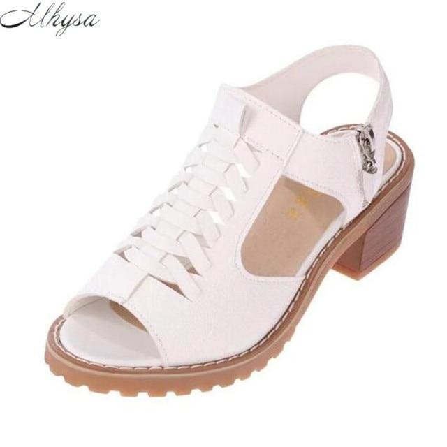 Mhysa 2018 caliente vintage elegante mediados talón Mujer Sandalias estilo verano peep toe Cruz atada lado zip diseño zapatos mujer Y32