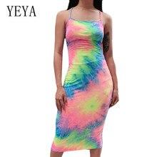 YEYA Sexy Behind Cross Bandage Sleeveless Vintage Dress Fashion Spaghetti Strap Hollow Out Rainbow Printed Women Summer