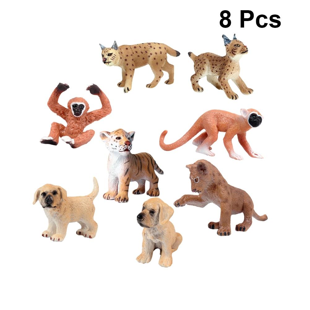 Figure Simulation Animal-Toy Plastic Girls Cute for Boys 8pcs Tiger Golden-Retriever