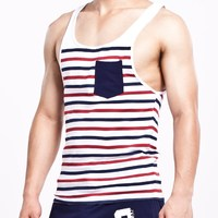 SEOBEAN Muscle Leisur Men Stripe Fitness Vest Men S Tank Top Fashion Hot Sleeveless Cotton Square
