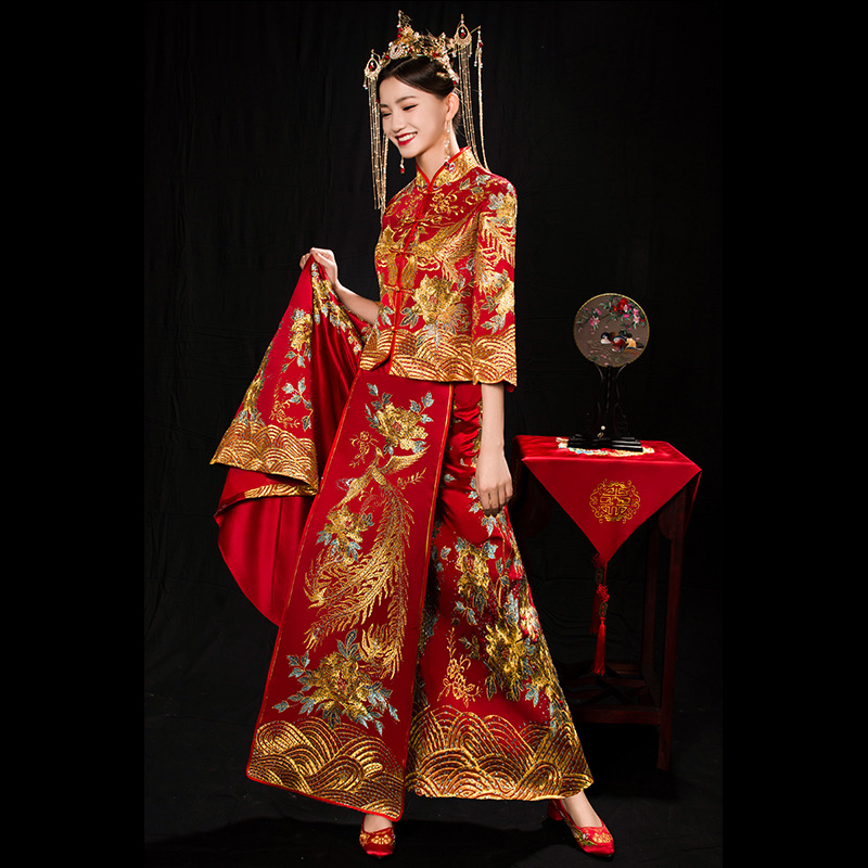Chinese Women Embroidery Phoenix Cheongsam Wedding Dress Vintage Slim Qipao Suit Noble Marriage Gift Classic Toast Clothing