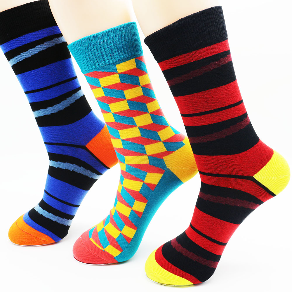 High-quality combed cotton brand men socks colorful dress socks (3 pairs)