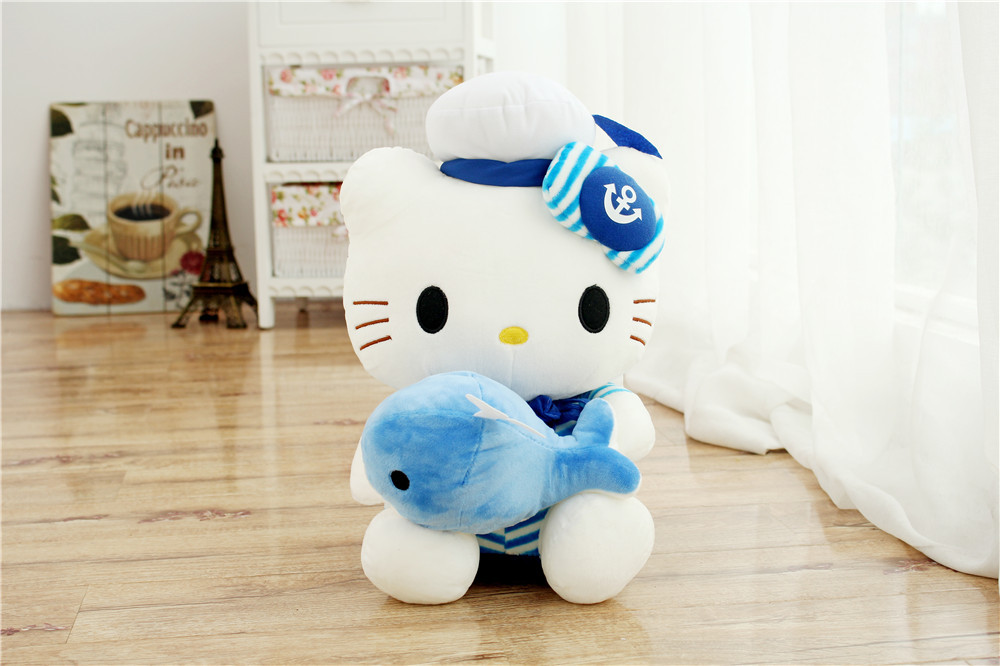 Costume bleu marine conception kitty étreint petit dauphin, charmant kitty environ 35 cm peluche doux oreiller, cadeau de noël h369
