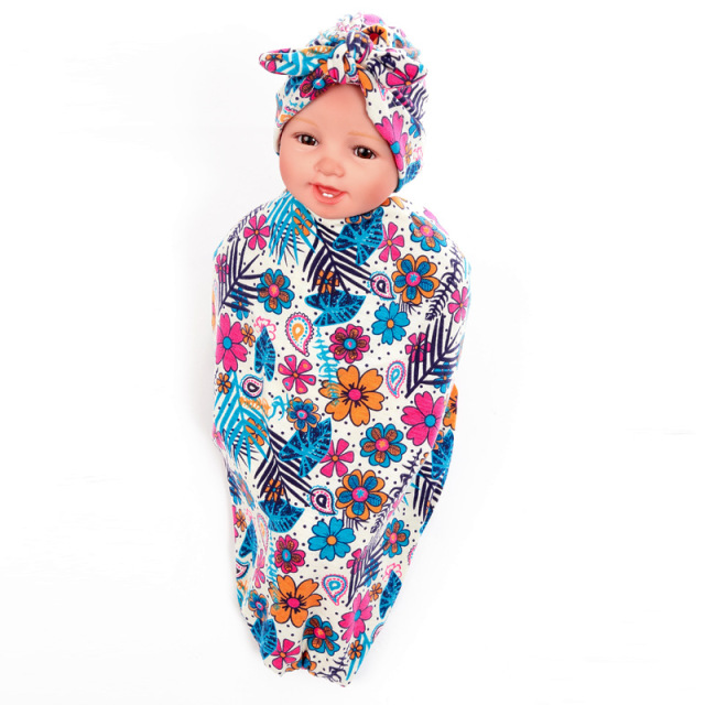 Newborn Baby Boys Girls Floral Cotton Blanket+Bowtie Hat Set Swaddle  Sleeping Sleepsack Stroller Wrap Boy Girl Receiving Blanket 66e13d6f4f5e