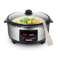 220V 1600W 1pc Commercial  electric hot pot multi function non stick household cooking hot pot hot pot Cooking pan Cookware 6L|Food Processors|Home Appliances -