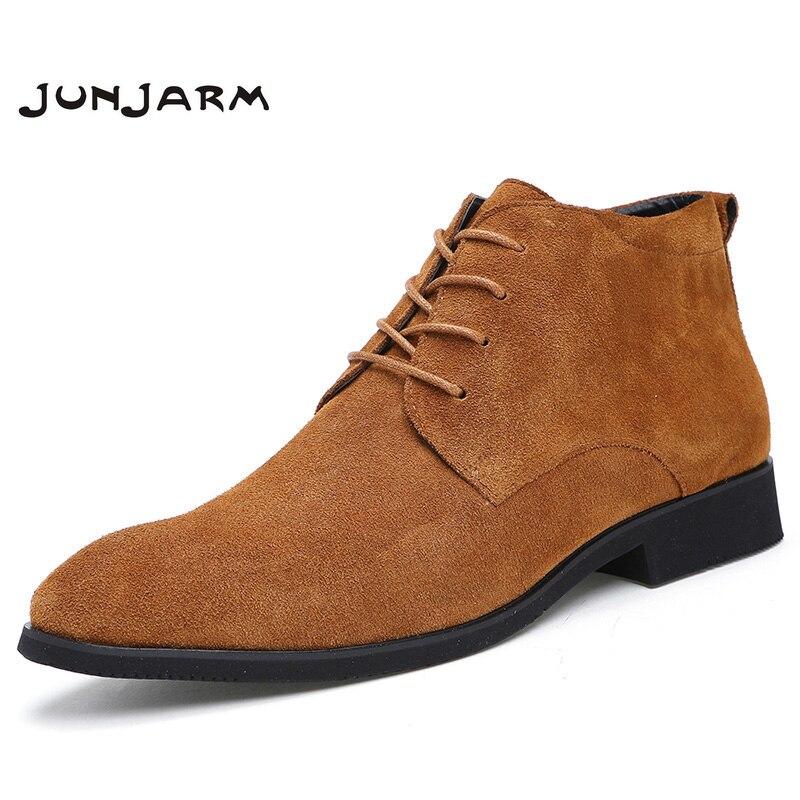 JUNJARM/мужские ботильоны из натуральной кожи, дышащие мужские кожаные ботинки, обувь с высоким берцем, Уличная Повседневная мужская зимняя об...