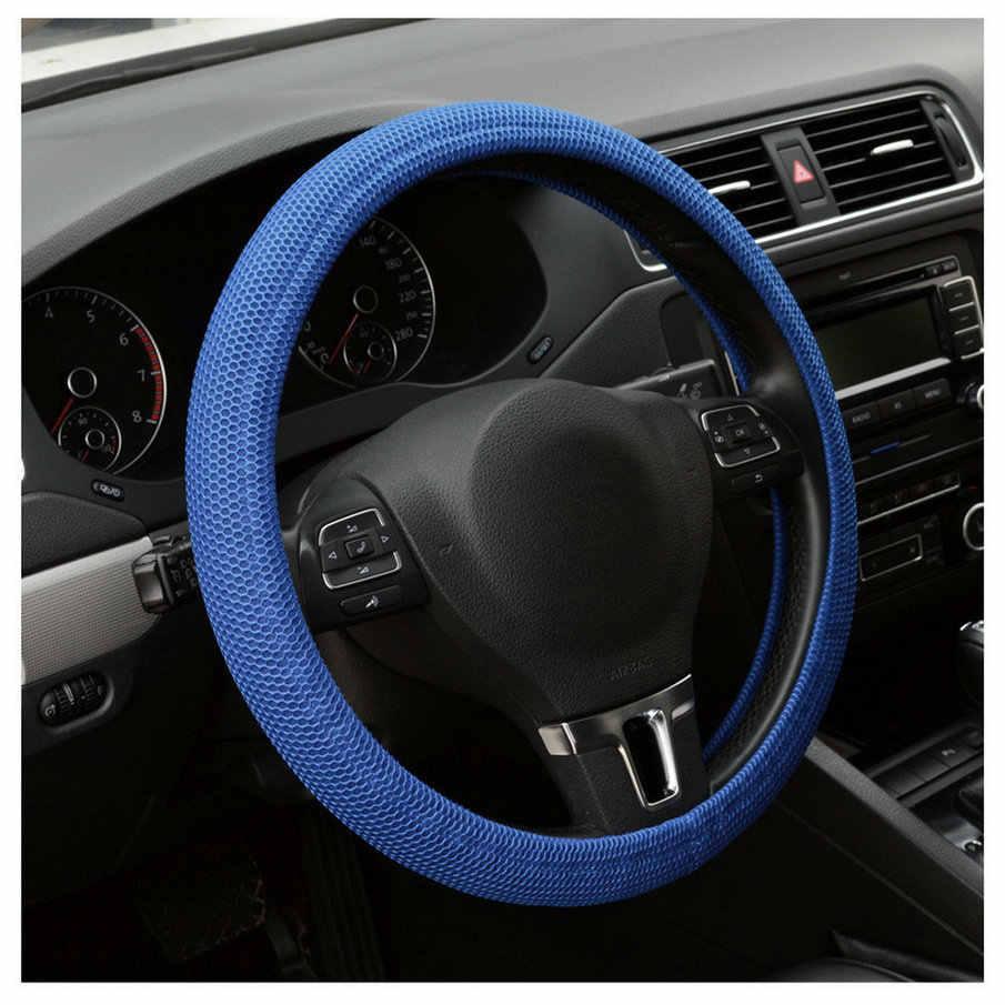 Couverture universelle de volant de voiture antidérapant fait main élastique de voiture bleu/noir livraison directe de vente chaude