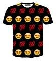 Mujeres hombres 3d de dibujos animados iphone cara emoji camiseta 100 e pastillas Emoticon weed leaf estilo de verano tees camisetas de dólar S-XXL