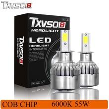 TXVSO8 2Pcs H3 LED Car Light Bulbs Kits-Flip COB Chips 26000LM 6000K Auto Fog Headlight Bulb 55W 12V Automobiles Front Headlamp