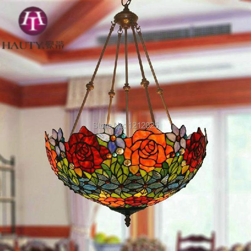 Lustre Tiffany Style Rose Pendant Lamp Bedroom Living Room
