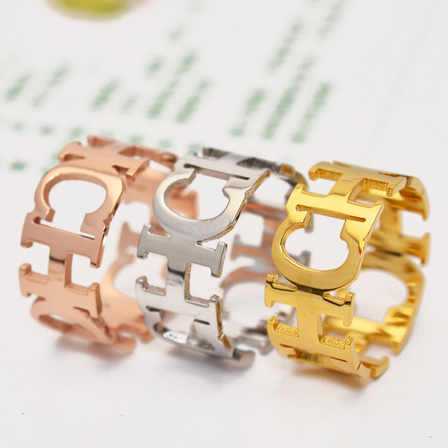 Gold Silver Plated Broad Alphabet Lovers Rings Never Fade