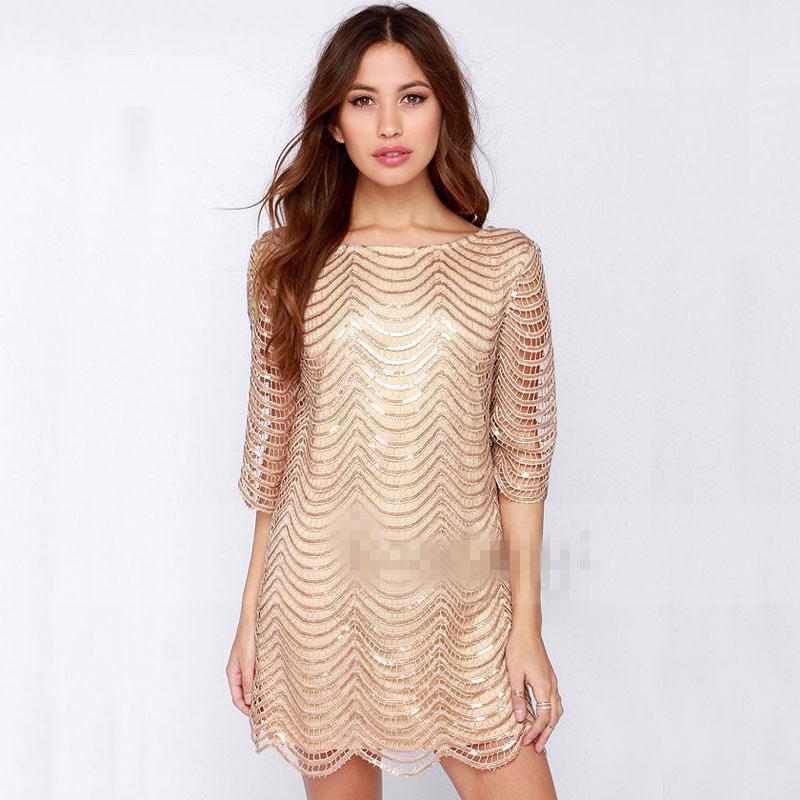 Buy Cheap Hot New Sexy Dress fashion women O-neck hollow short sleeve gold wave sequined dress with lining ladies evening party club dress