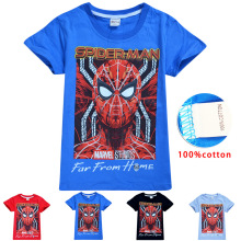 2019 Spiderman Home Children T-shirts Top O-neck 100% Cotton Boys Girls Kids tshirt Cartoon Teen Summer Clothing Baby T-shirt