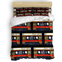 Retro Cassette Mix Tape Duvet Cover Set Retro Rock Music Collection of 3/4pcs Bedding Set Bed Sheet Pillowcases Cover Set
