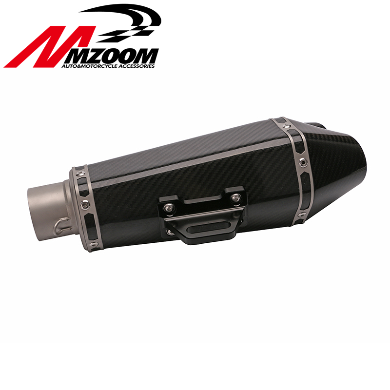 цена на Mzoom - 51mm motorcycle Universal Motorcycle R-77D Real Carbon Fiber MUFFLER SLIP EXHAUST FOR SUZUKI GSXR600 1000 with sticker