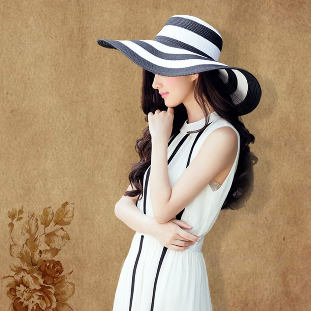2018 Summer Wide Brim Stripe Printed Women Round Flat Top Straw ... eeeaac8aef1