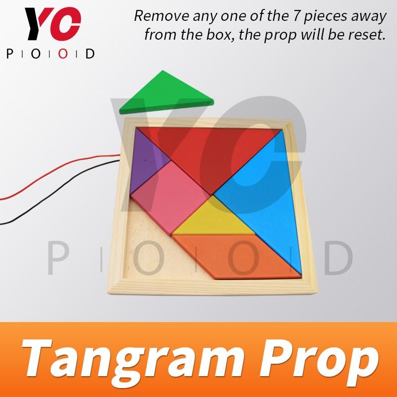 Tangram Prop YOPOOD Escape Room recueillir toutes les pièces de couleur dans la boîte en bois pour trouver des puzzles et débloquer la serrure EM - 5