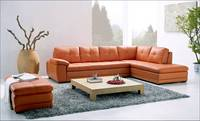 Modern Sofa Made With Top Grain Leather L Shaped Corner Sectional Sofa Set With Ottoman Chaise
