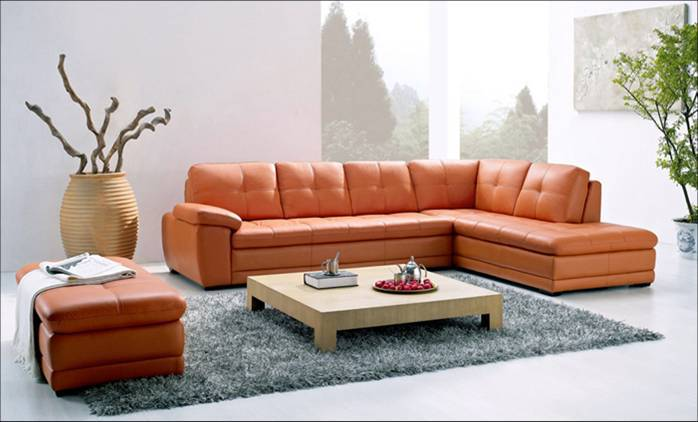 Free Shipping Modern Sofa made with Top Grain Leather L Shaped Corner Sectional Sofa Set with