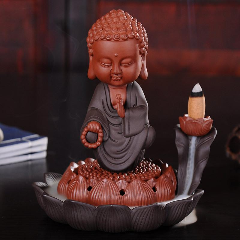 Creativ Bouddha Brûleur D'encens Maison Décor Fumée D'encens Brûleur Cascade Moine Encensoir Bâton porte-encens + 10 pièces Cônes