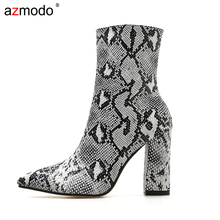 Women Zipper Boots Snake Print Ankle Boots Square heel Fashion Pointed toe Ladies Sexy shoes New Chelsea Boots 2018 new winter fashion pointed toe lace up genuine leather print flower zip rivets women ankle boots thick heel chelsea boots l