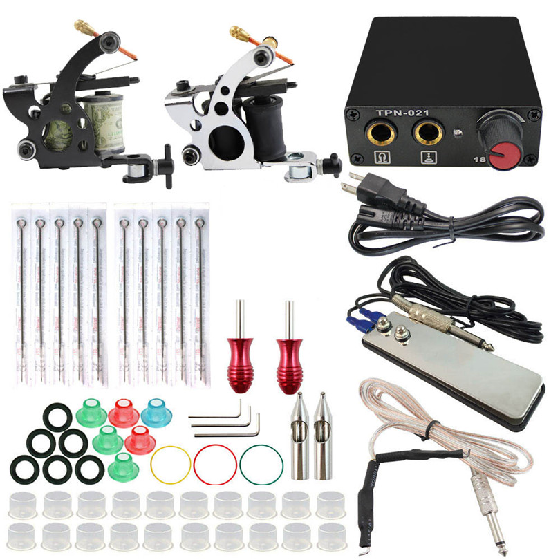 Pro Complete Tattoo Kit Set 2Pcs Coil Tattoo Machines Gun Needle Grips Foot Pedal Switch Power Supply For Tattoo Body Art black red yellow blue skull design stainless steel tattoo foot pedal switch footswitch power supply