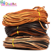 OlingArt 3*2mm 5Yard/lot Black/brown/leather color Flat Leather Rope/Cords DIY necklace Bracelet earrings choker jewelry making(China)