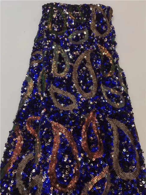 (5 m/dużo) 2019 nowy wysokiej jakości brokat haftowane afryki koronki koronki francuski koronki netto tkanina z cekinami dla sukienka na imprezę