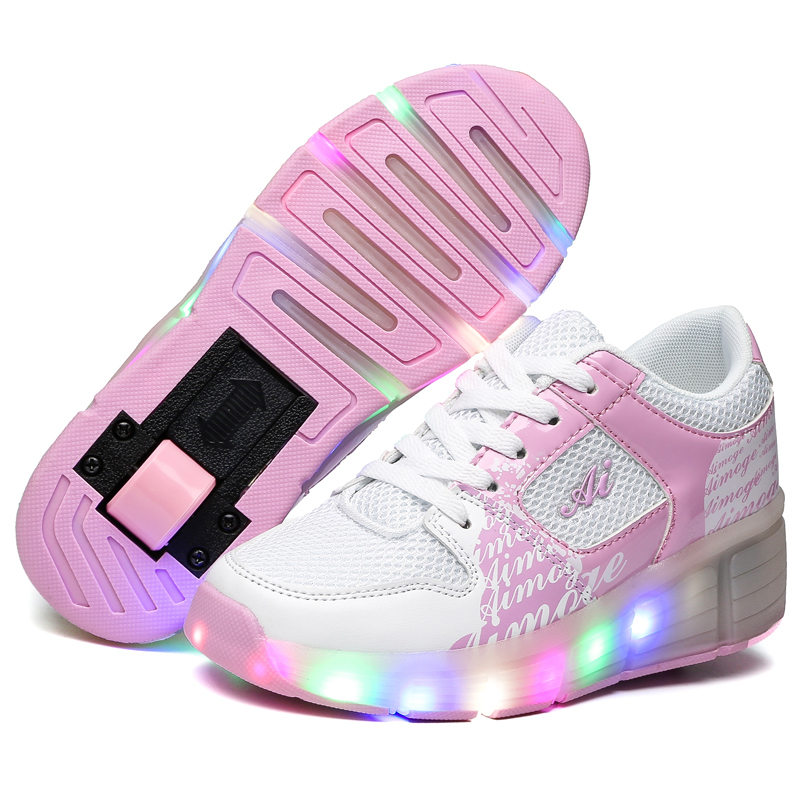 ФОТО Roller Skate Shoes With Lights New Breathable Sneakers With Wheels PU Leather Mesh Adults Kids Sports Shoes EU 27-43 Zapatos