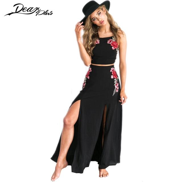 Floral Bordado Maxi falda traje mujer sexy crop top y alta cintura falda 2  unidades set 03971e0bc3c0