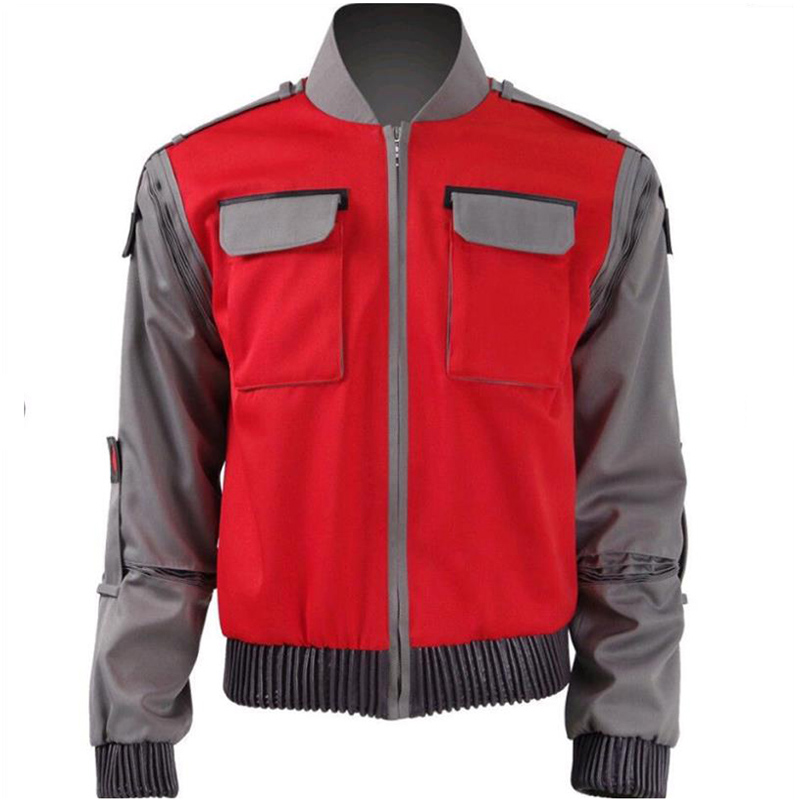 ZSQH Back futures Cosplay Costume Marty McFly red jacket Coat Movie Back Future Marty McFly Cosplay Costume for women and men