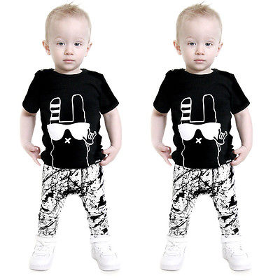 New boy summer clothing set short sleeve black shirt+long pants children boy's clothes sets 2pcs baby boys clothes 0-24 months 2018 kids girls clothes set baby girl summer short sleeve print t shirt hole pant leggings 2pcs outfit children clothing set