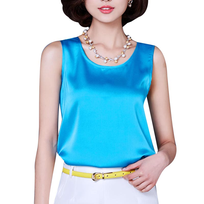 Fashion Tank Top Summer Casual Chiffon Bright Silk Sleeveless Vest All-match Female T-shirts for Women Plus Size Solid 14 Color