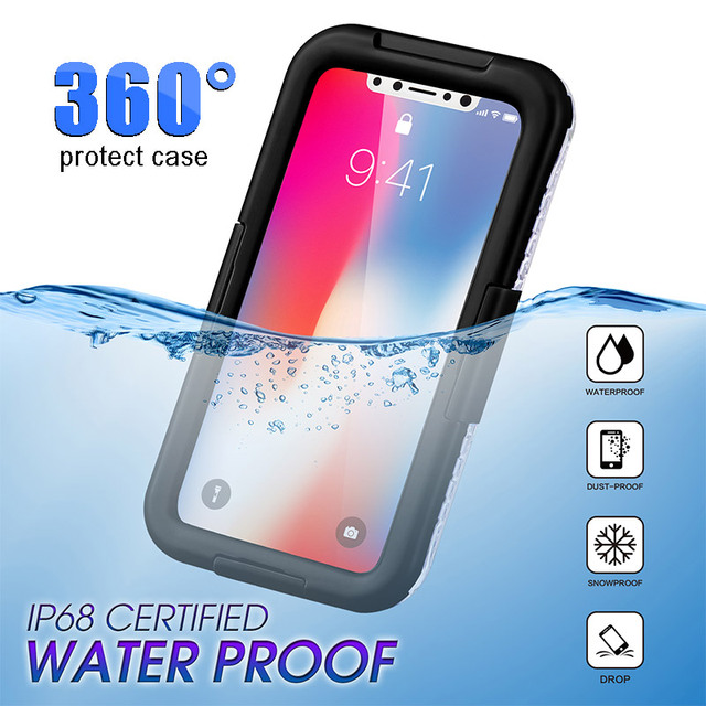 100% authentic 75a7c a64c3 US $6.99 46% OFF|100% Waterproof Case For IPhone Xr MAX XR XS X IP68 Diving  Swimming Water/Dirt/Shock Proof Phone Bag Cases for IPhone XR X-in Fitted  ...