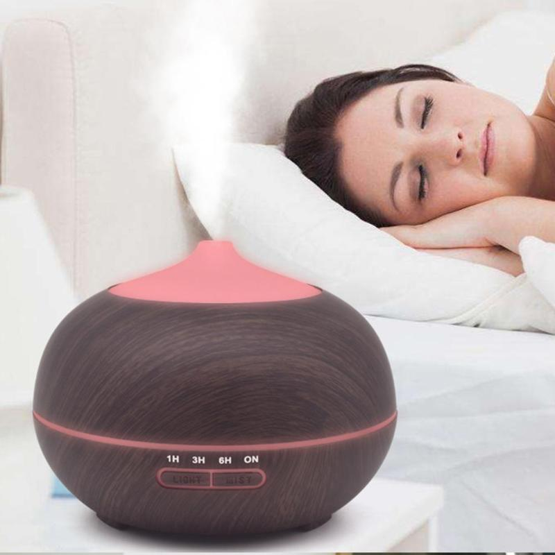 300ml Wood Air Humidifier Ultrasonic Humidifier Timer Function Essential Oil Diffuser Aroma LED Lamp Air Diffuser крышка redmond ram pl 5