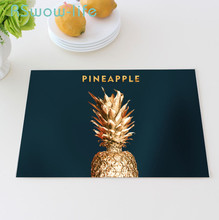 Golden Pineapple Bronzing Placemat Cotton Linen Tables Cloth Western Table Mat Placemat For Dining Table For Kitchen Stuff цена
