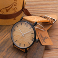 BOBO BIRD Mens Watches Wood Grain Dial Stainless Steel Quartz Watch with Soft Cork Band in Gift Box for Men as Gift Item
