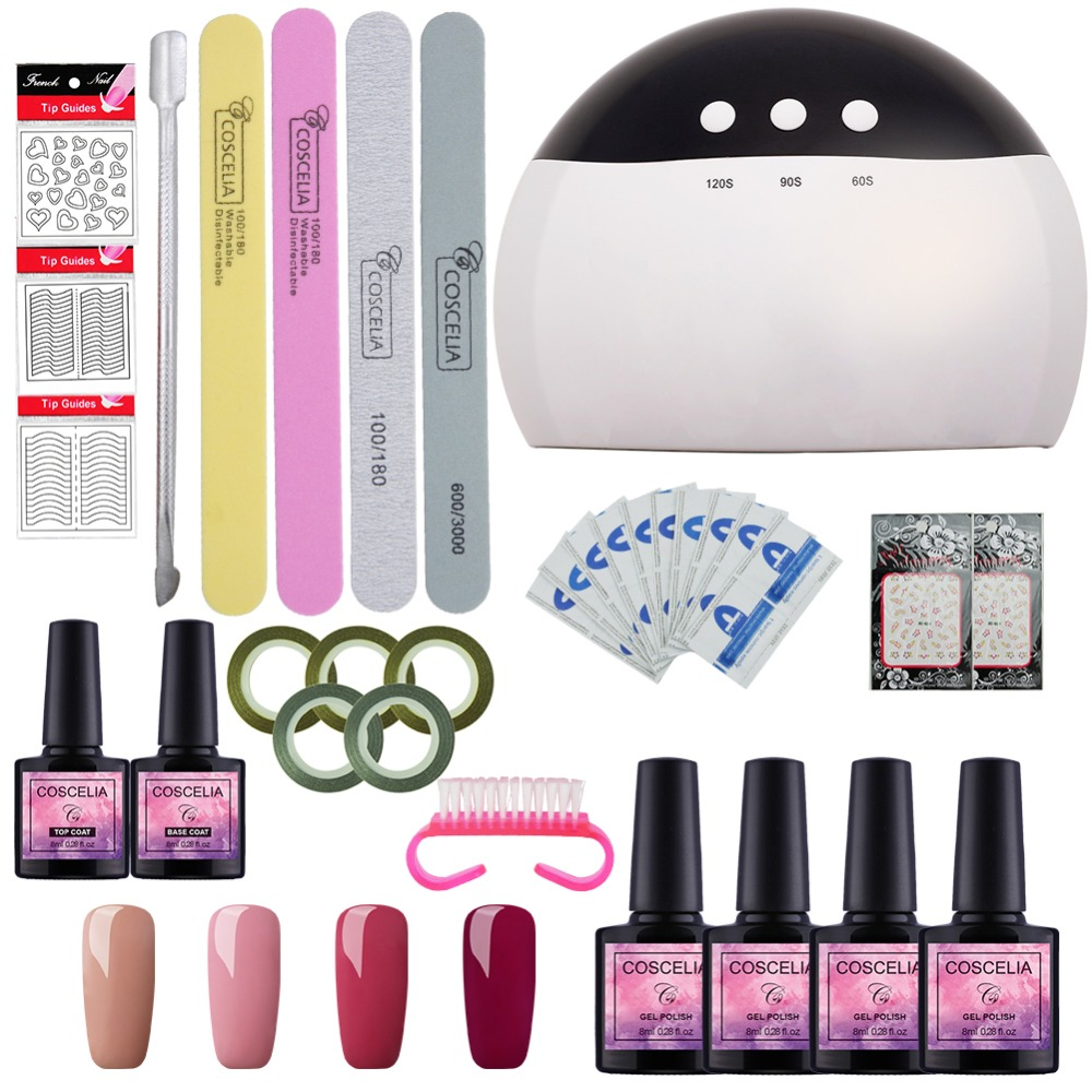 UV LED Lamp Nail Art Set Manicure Tools Kits 4 Color 8ML Soak Off UV Gel Nail Polish Varnish Set With Nail Dryer Top Base Coat belkis m marte my childhood memories