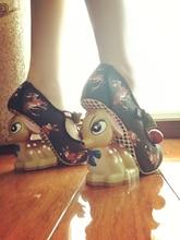 Summer Spring 2017 Cute Little Deer Fashion High Heel Women Pumps Designer Polka Dot Sandal Print Strange Heels