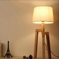 Loft Wood Wooden Table Lamp Light E27 AC 110V 220V For Living Room Bedroom Bedside Home