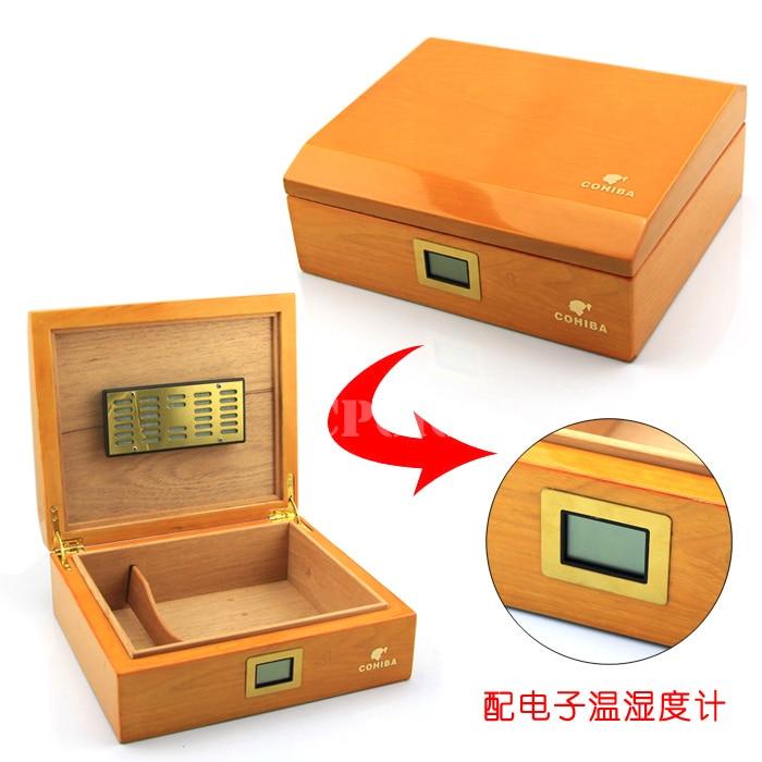 FREE SHIPPING COHIBA Wooden Cigar Humidor Office Cigar Box with Digital Hygrometer Cedar Wood Cigar Humidor