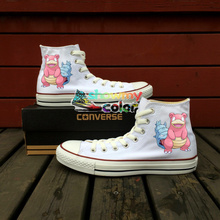 Men Women Converse All Star White Girls Boys Shoes Pokemon Slowbro Horse Design Hand Painted High Top Sneakers Gifts