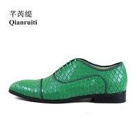 Qianruiti Men Alligator Leather Shoes Lace up Derby Shoes Business Wedding Flat High Quality Men Dress Shoes EU39 EU46