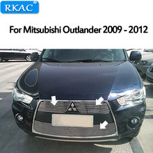 RKAC For Mitsubishi Outlander 2009-2012 High quality Aluminium alloy Front Grille Around Trim Racing Grills Car-styling