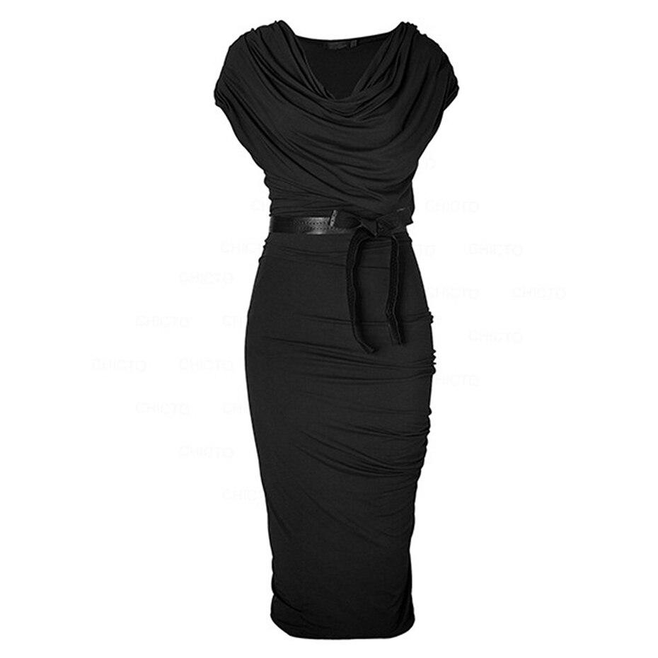 Women Sheath Draped Vestidos Summer Sashes Irregular Collar Midi Dress Sleeveless Bodycon Robe 2018 High Street Office Dresses