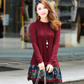 Plus Size Autumn Winter Maternity Dress Clothes Pregnant Women Warm Knitted Dresses Pregnancy Mothers Flower Outwear Clothing