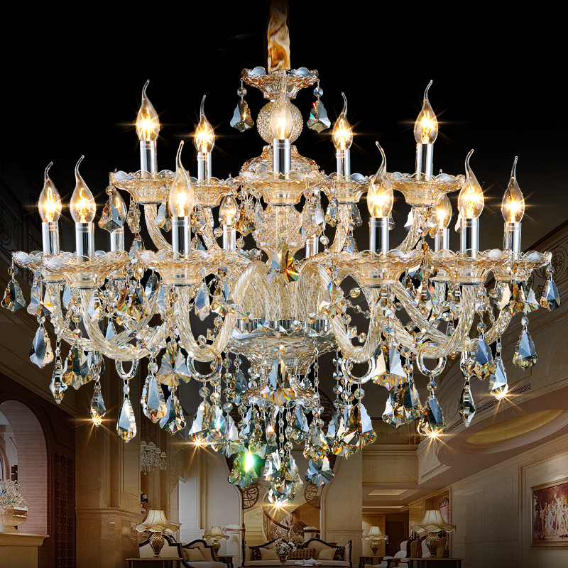 Ceiling Crystal Chandelier Led European Candle Chandeliers Wrought Iron High Quality In From Lights