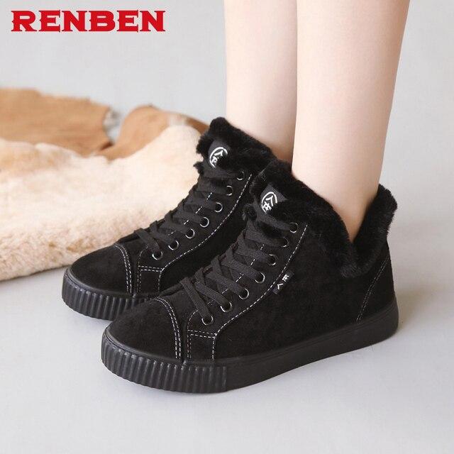 910cc895e RENBEN Mulheres Tornozelo Botas de Moda Nova Plataforma Plana Inverno Neve Quente  Sapatos Para