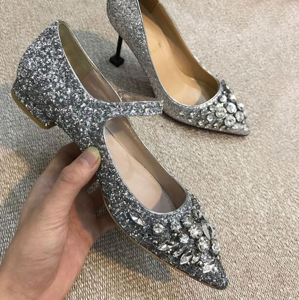 Silver Embellished Flat Shoes