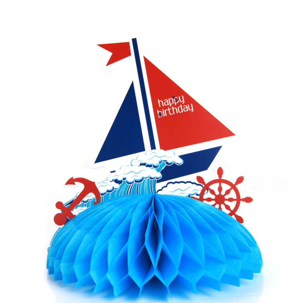 1pc Blue Tissue Paper Sailboat Honeycomb Table Cen...